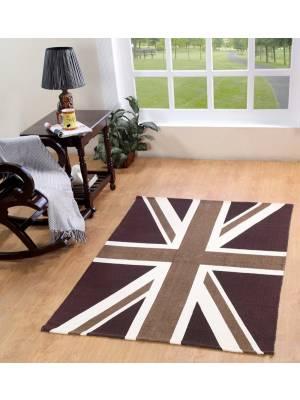Union Jack Hand Woven Cotton Floor Rug-Mocha and Chocolate