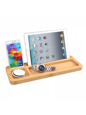 Universal Tablet iPad Smartphone Stand with accessories holder in Bamboo