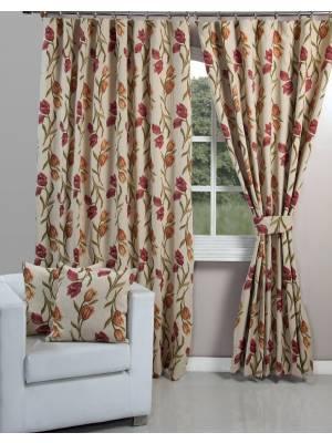 Vintage Tulip Design Pair of Tapestry Curtain Tie Backs
