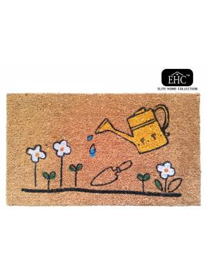Watering Can & Flowers Decorative Coir & PVC Backed Doormat