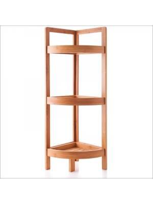 Woodluv 3 Tier Bamboo Free Standing Corner Storage Unit