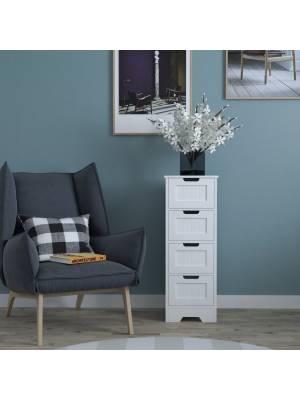 Woodluv 4 drawer Free standing Bathrrom Storage Cabinet- MDF