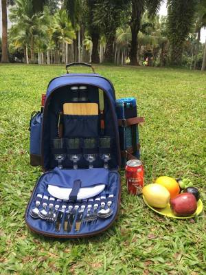 Woodluv 4 Person Picnic Backpack With Accessory, Blanket, & Wine Cooler Bag