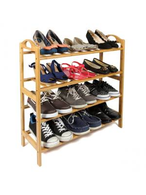 Woodluv 4 Tier Luxury Natural Bamboo Wooden Shoe Organiser For Hallway