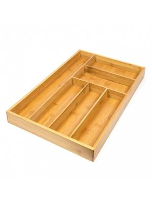 Woodluv 6 comaprtments Bamboo Kitchen Cutlery Organiser