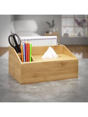 Bamboo Multi purpose Desk Organizer Caddy with Tissue box