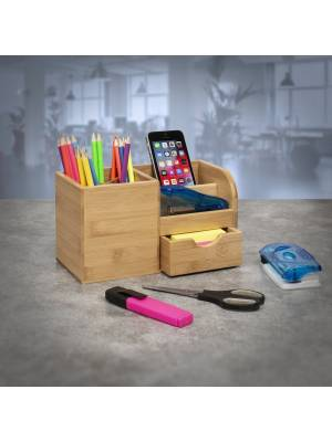 Bamboo Multi Purpose Desk Stationary or Make-up Organizer