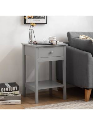 Woodluv Bedside Drawer with Shelf Cabinet MDF Storage Unit - Grey