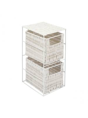 Woodluv Chic 2 Drawer Resin Storage Tower With Metal frame, White