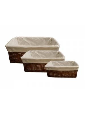 Woodluv Dark Brown Wicker Storage Basket With Lining, Large