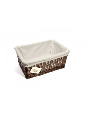 Woodluv Dark Brown Wicker Storage Basket With Lining, Medium