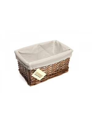 Woodluv Dark Brown Wicker Storage Basket With Lining, Small
