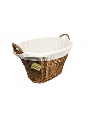 Woodluv Dark Brown Willow Oval  Laundry Basket With White Liner & Handles