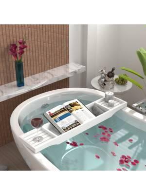 Woodluv Eco-Friendly Slimline Bamboo Bath Bridge - White