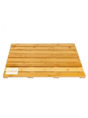 Woodluv Elegant Bamboo Rectangular Duckboard Bath Mat- Large