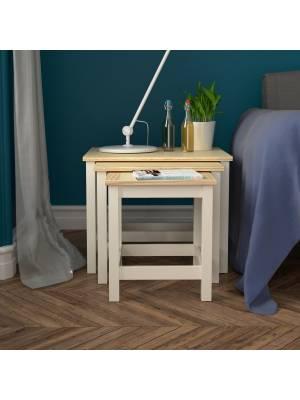 Woodluv Elegant Nest of 3 MDF Tables Bedside - Buttermilk