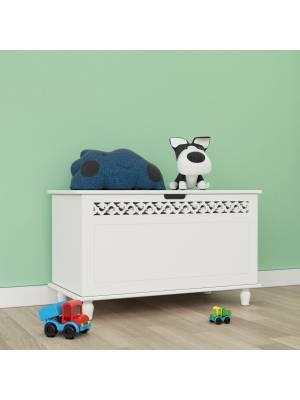 Woodluv Fretwork MDF Ottoman Storage Toy Chest - White