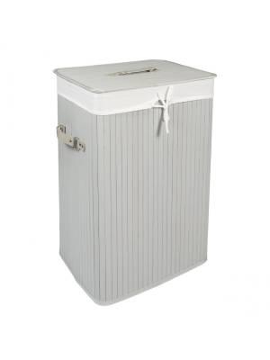 Woodluv Grey Rectangular Folding Bamboo Laundry Basket