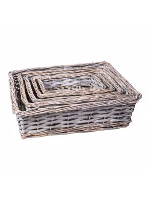Woodluv Hand Made Set Of 5 Rectangular Wicker Storage Basket, Grey