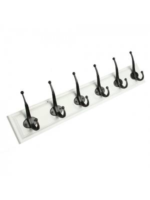 Woodluv Heavy Duty 6 Hook Wooden Coat Hanger- Black and White