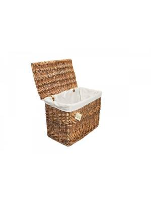 Woodluv Large Brown Wicker Storage Trunk With Lid & Removable Cloth Lining