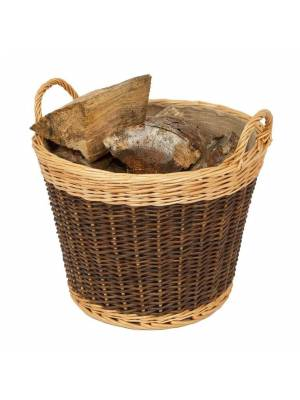 Woodluv Large Lined Heavy Duty Willow Log Basket, Natural & Dark Brown