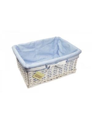 Woodluv Large Rectangular White Willow Basket With Blue Dot Lining & Ribbon