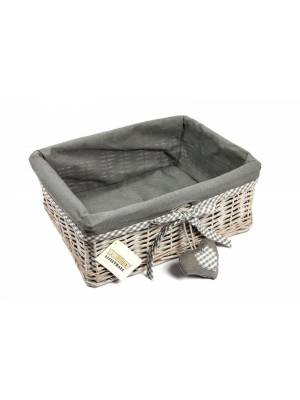 Woodluv Large Wicker Storage Shelf Basket With Removable Lining- Grey
