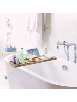 Luxurious Bamboo Water Resistance Bath Caddy Bridge With 7 Slots