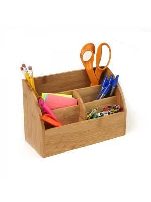 Woodluv Luxury Bamboo Wood  DeskTop Stationary Organizer