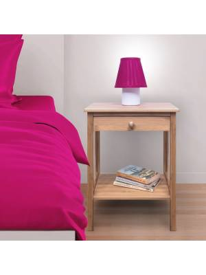 Woodluv Luxury Bedside Natural Bamboo Wood  Storage Cabinet - With Drawer