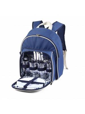 Woodluv Luxury Insulated Picnic Backpack for 4 Persons, Blue
