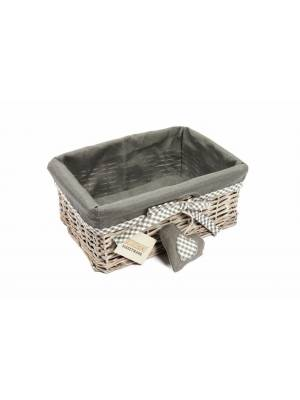 Woodluv Medium Grey Wicker Storage Shelf Basket With Removable Lining