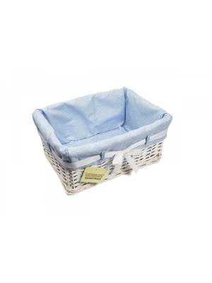 Woodluv Medium Rectangular White Willow Basket With Blue Dot Lining & Ribbon
