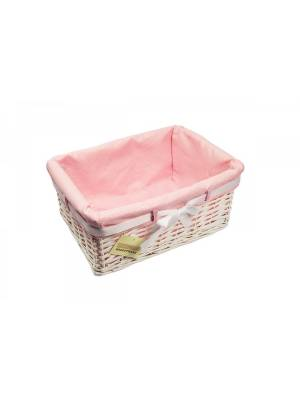Woodluv Medium Rectangular White Willow Basket-With Pink Dot Lining & Ribbon