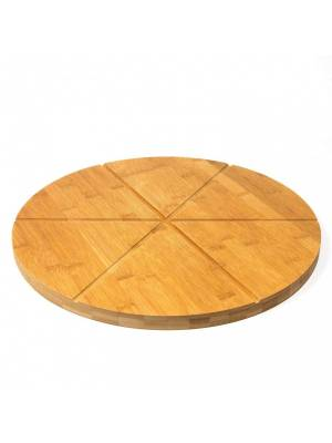 Woodluv Natural Bamboo Pizza Cutting Board With 6 Grooves