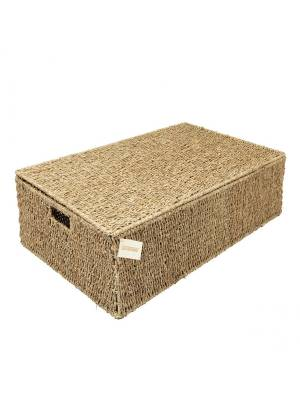 Woodluv Natural Hand Woven Seagrass Under Bed Storage Chest, Large