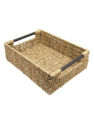 Woodluv  Natural Seagrass Storage Basket With Wooden Handles, Extra Large