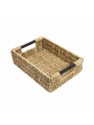 Woodluv Natural Seagrass Storage Basket With Wooden Handles, Medium