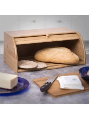 Woodluv Natural Wooden Bamboo Countertop Roll-Top Bread Bin