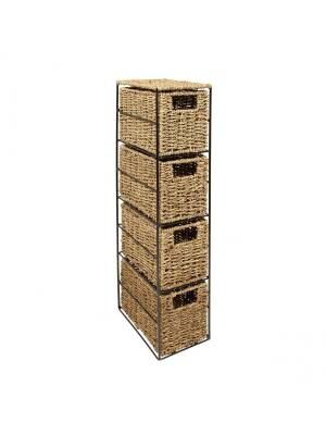 Woodluv Opulent 4 drawer Natural Seagrass Storage Tower