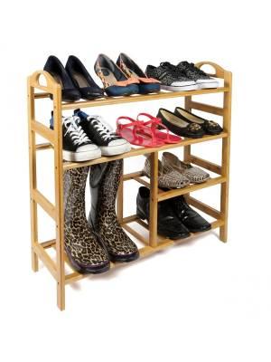 Woodluv Premium 4 Tier Natural Bamboo Wood Shoe Storage Unit