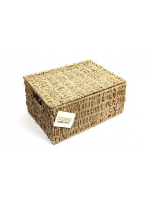 Woodluv Premium Quality Large Seagrass Storage Basket With Lid
