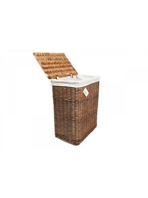 Woodluv Rectangular Brown Wicker Linen Laundry Basket, Large