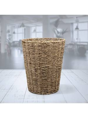 Woodluv Round Hand Woven Natural Seagrass Waste Paper Bin
