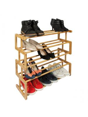 Woodluv S Style 5 Tier Natural Bamboo Shoe Rack