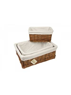 Woodluv Set Of 3 Dark Brown Wicker Storage Basket With Lining