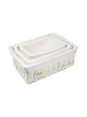 Woodluv Set Of 3 Wicker Storage Basket With Removable Lining