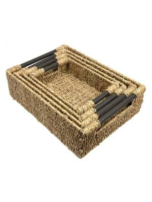 Woodluv Set Of 4 Natural Seagrass Storage Baskets With Wooden Handles
