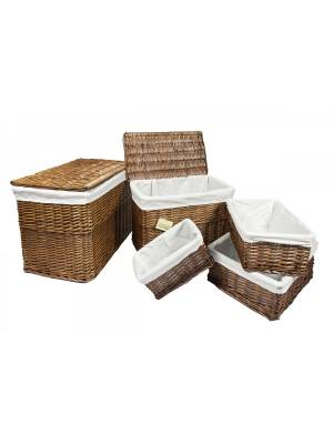 Woodluv Set Of 5 Brown Wicker Storage Trunk With Lid & Basket With Lining